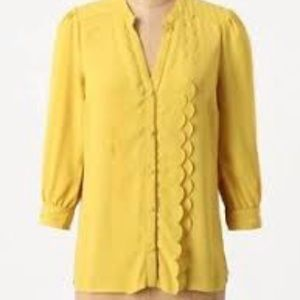 Anthropologie Meadow Rue Scalloped Blouse 8